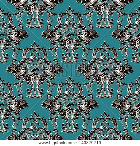 Light emerald green baroque damask elegant floral vector seamless pattern background with vintage elegance antique flowers and ornaments. Luxury illustration and royal 3d decor elements with shadow and highlights. Endless elegant  texture.