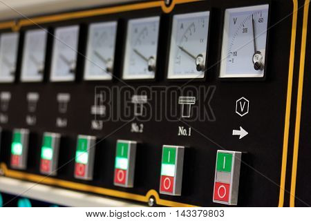 Close up view of the industrial equipment electrical control board.