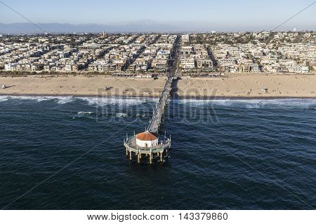 Manhattan Beach, California, USA - August 16, 2016:  Afternoon aerial view of Manhattan Beach Pier near Los Angeles, California.