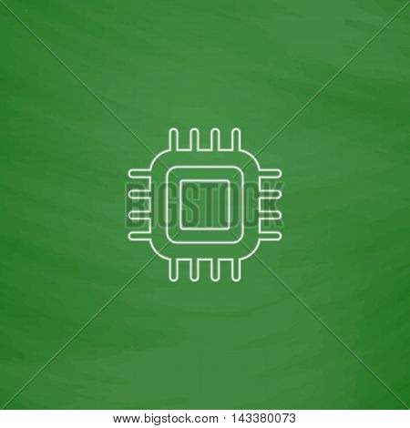 cpu Outline vector icon. Imitation draw with white chalk on green chalkboard. Flat Pictogram and School board background. Illustration symbol