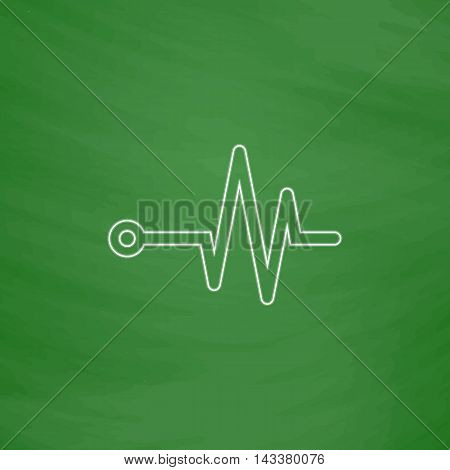 Pulse Outline vector icon. Imitation draw with white chalk on green chalkboard. Flat Pictogram and School board background. Illustration symbol