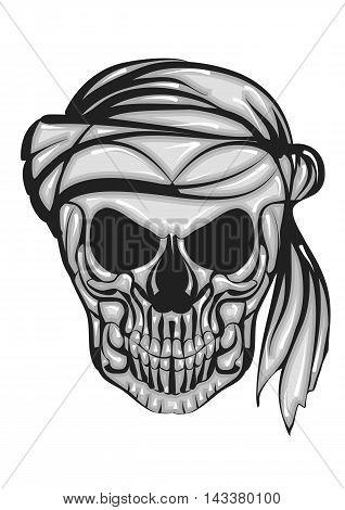 skull with bandana isolated on a white background