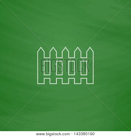 Fence Outline vector icon. Imitation draw with white chalk on green chalkboard. Flat Pictogram and School board background. Illustration symbol
