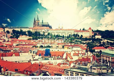 Prague. View of Hradcany with St. Vitus Cathedral and Castle of Prague. Vintage picture.