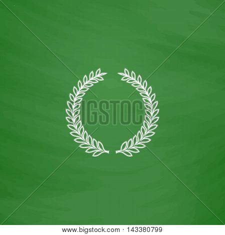 laurel wreath Outline vector icon. Imitation draw with white chalk on green chalkboard. Flat Pictogram and School board background. Illustration symbol