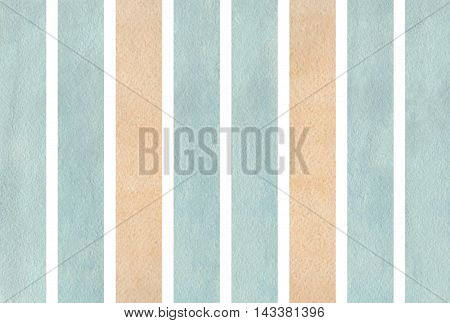 Watercolor Beige And Blue Striped Background.