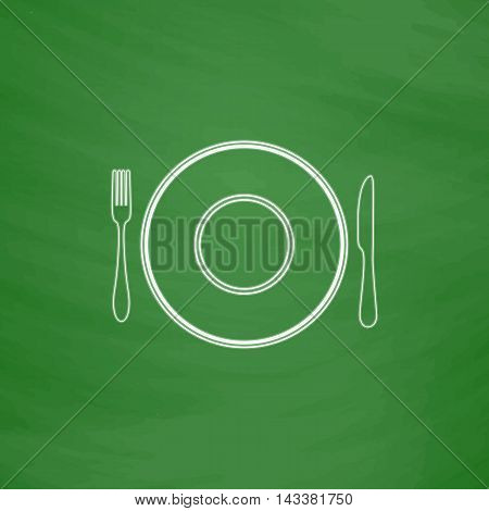 tableware Outline vector icon. Imitation draw with white chalk on green chalkboard. Flat Pictogram and School board background. Illustration symbol
