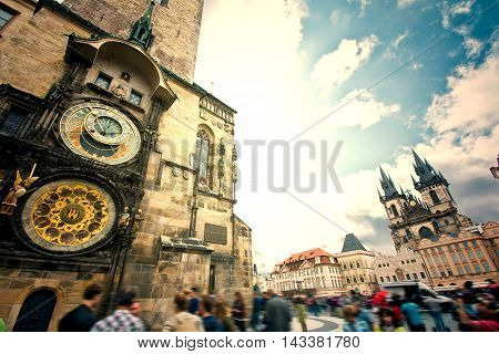 Prague. Old Town Hall with Orloj Astronomical Clock and Tyn Church.