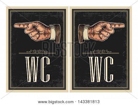 Pointing finger. Vector vintage engraved illustration on a black background. Hand sign for web, poster, info graphic