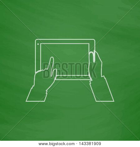 Use Tablet Outline vector icon. Imitation draw with white chalk on green chalkboard. Flat Pictogram and School board background. Illustration symbol