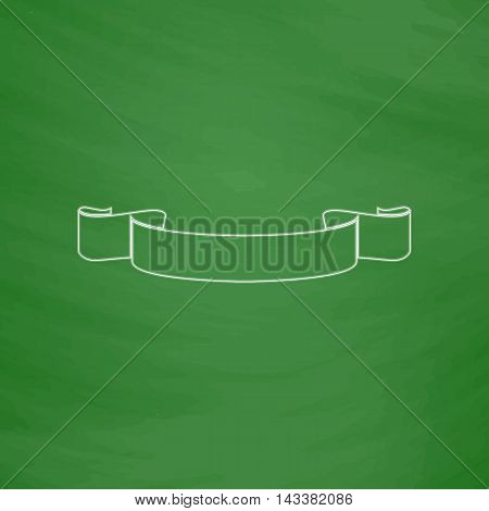 Banner ribbon Outline vector icon. Imitation draw with white chalk on green chalkboard. Flat Pictogram and School board background. Illustration symbol