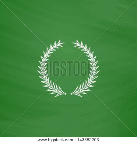 laureate wreath Outline vector icon. Imitation draw with white chalk on green chalkboard. Flat Pictogram and School board background. Illustration symbol