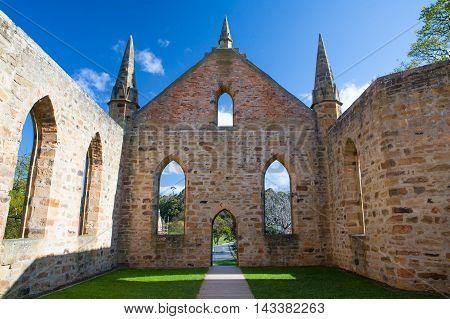 Ancient ruins of a church at Port Arthur in Tasmania, Australia