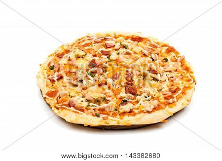 Italian traditional pizza on a white background