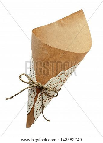 Empty craft paper cornet with tied rope bow isoaletd on white