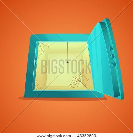 Small safe. Cartoon style illustration of opened empty bank safe. Vector illustration.