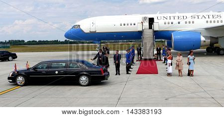 Belgrade Serbia. 16th August 2016. US Vice President Joseph 'Joe' Biden arrives in Belgrade Serbia. US Vice President welcomes Serbiam PM Aleksandar Vucic at the Belgrade airport