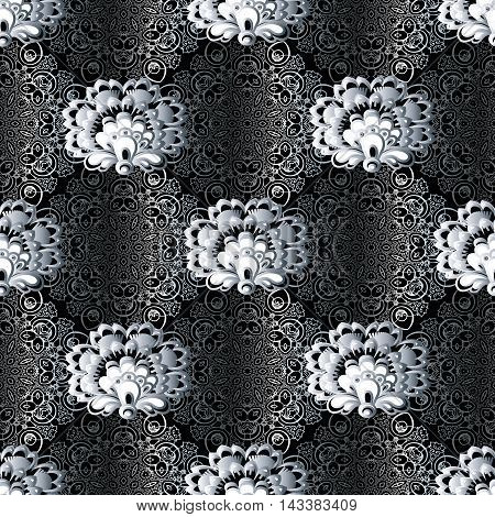 Elegant modern stylish floral vector seamless pattern background with vintage beautiful white flowers and volumetric lace art ornaments. Luxury illustration and royal 3d decor elements with shadow and highlights. Endless elegant  texture.