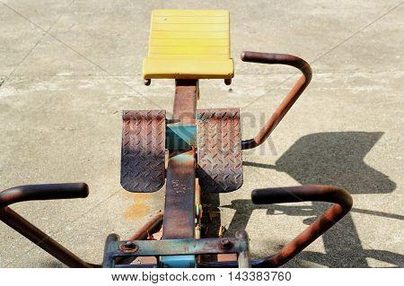 Old Exercise Equipment In Public Park