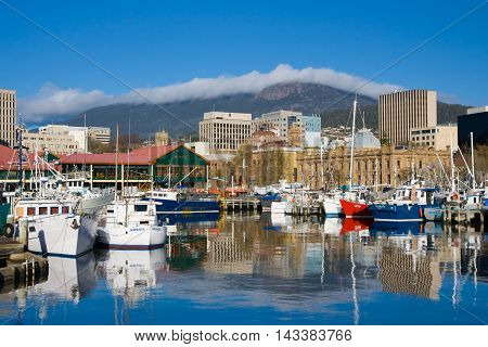 Hobart, Tasmania - Sept 25: View towards Mt Wellington over the wharf area in Hobart, Tasmania, Australia on September 25th 2007
