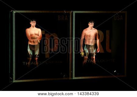 NEW YORK-DEC 15: Olympic swimmers Thiago Pereira (BRA) (L) & Ryan Lochte (USA) at the launch of Team Speedo and Speedo's Fastskin LZR Racer X at SIR Stage37 on December 15, 2015 in New York City.