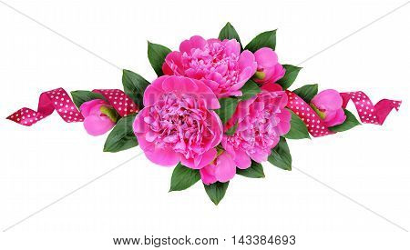 Pink peony flowers bouquet and a silk spotted ribbon isolated on white