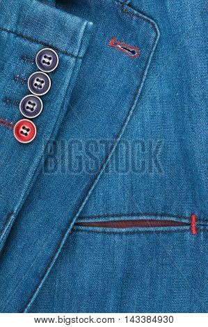 Texture denim jacket with pocket and sleeves with space for your text