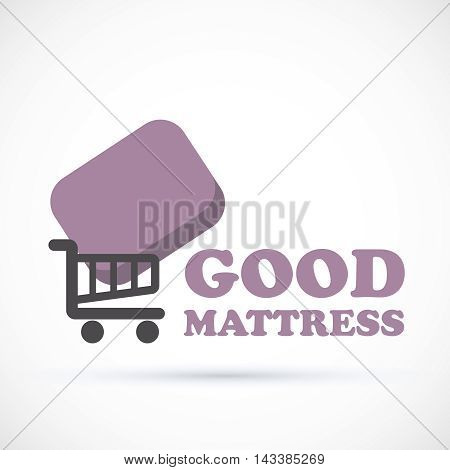 Logo sign matress add to cart vector illustration