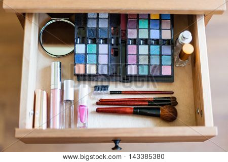 Cosmetic Set In Open Drawer