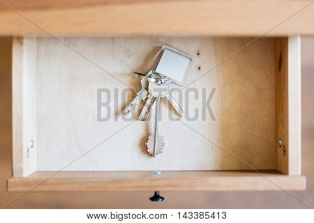 Bunch Of Door Keys With Keyfob In Open Drawer