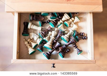Chess Figures In Open Drawer