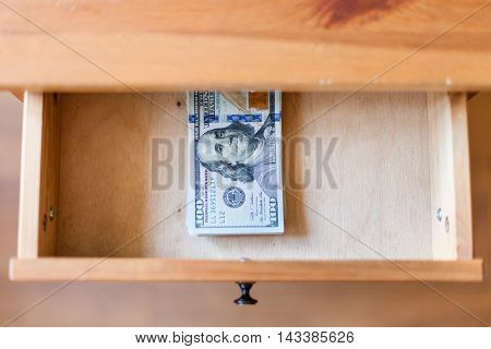 Hundred-dollar Bills Pack In Open Drawer