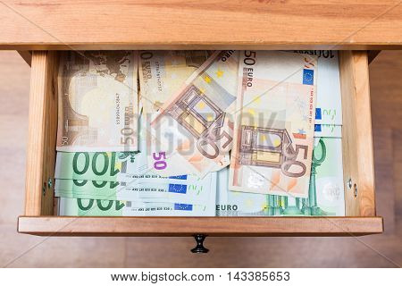 Many Euro Banknotes In Open Drawer