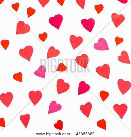 Pink And Red Hearts Cutout From Color Paper