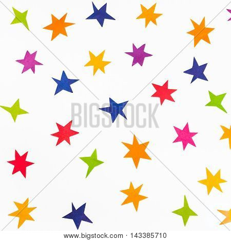Top View Of Various Stars Carved From Color Paper