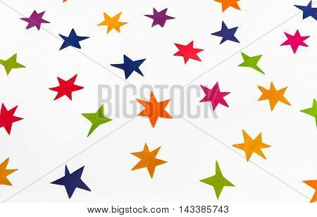 Various Stars Carved By Hand From Colored Paper