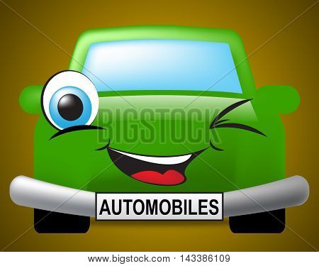 Automobiles Car Represents Motor Vehicle And Driving
