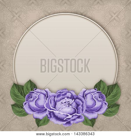 Floral card with hand drawn roses in retro style. Shabby chic vector illustration