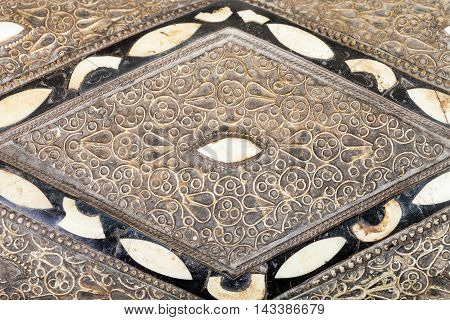 Inlay And Ornament On Cover Of Arabic Casket