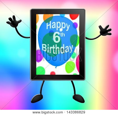 Sixth Birthday For Celebrating 6Th Party 3D Illustration