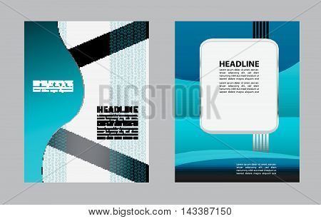 Abstract blue background with wave - brochure design or flyer