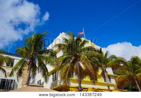 Miami Beach Ocean boulevard Art Deco district in florida USA