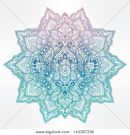 Beautiful Bohemian floral mandala ornament. Folk henna tattoo art. Indian paisley. Hand drawn vector illustration. Invitation element. Zen and magic symbol.