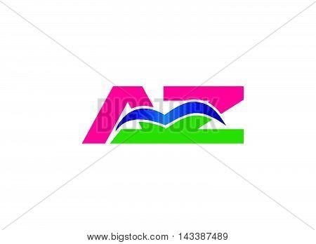 Az logo. Az company group linked letter logo