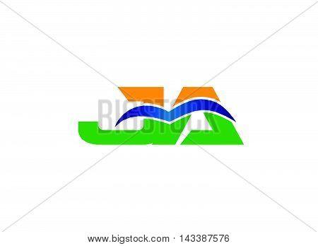 AJ company group linked letter logo design