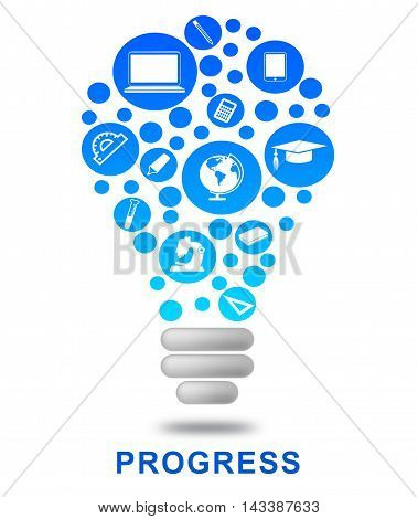 Progress Lightbulb Indicates Growth Advancement And Betterment