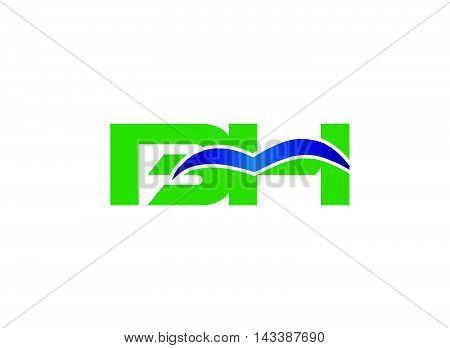 HB logo. Elegant black and gold alphabet B and H letter logo. Vector illustration