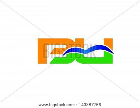 Letter B and U logo vector design