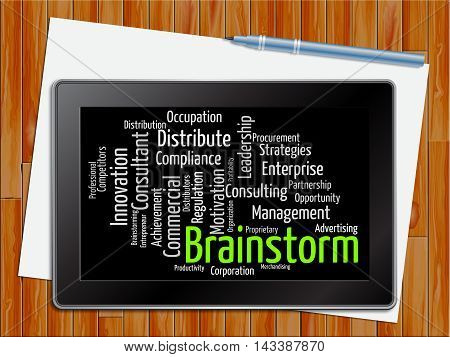 Brainstorm Word Indicates Deliberate Plans 3D Illustration