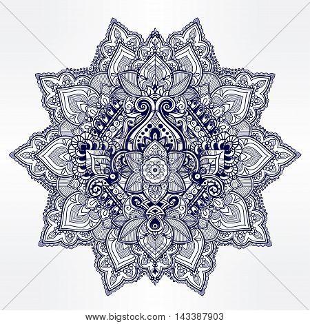 Beautiful Bohemian floral mandala ornament. Folk henna tattoo art. Indian paisley. Hand drawn vector illustration. Invitation element. Zen and magic symbol.